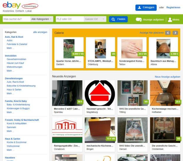 Startseite ebay Kleinanzeigen
