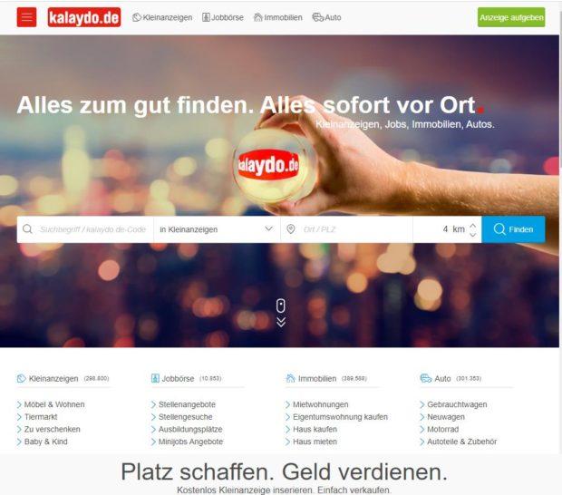 Kalaydo Startseite (Screenshot)