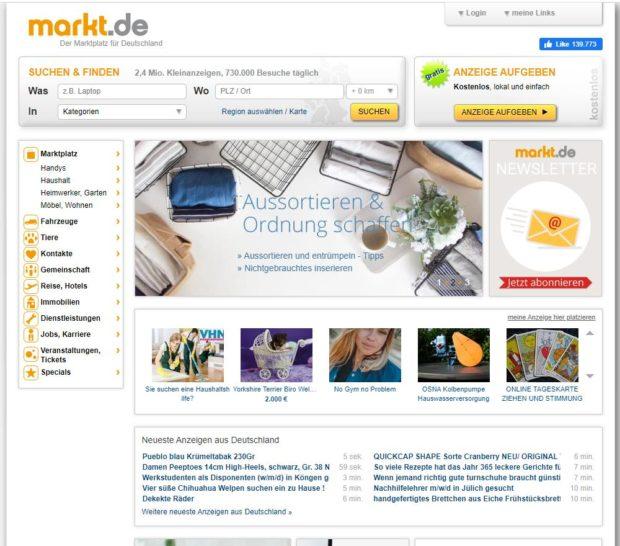 Markt.de Startseite (Screenshot)