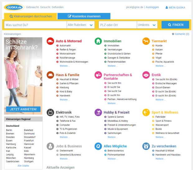 Startseite Quoka Kleinanzeigen-Portal