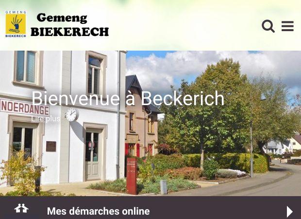 Screenshot: Homepage Gemeinde Beckerich