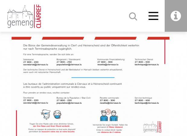 Screenshot: Homepage Gemeinde Clerf