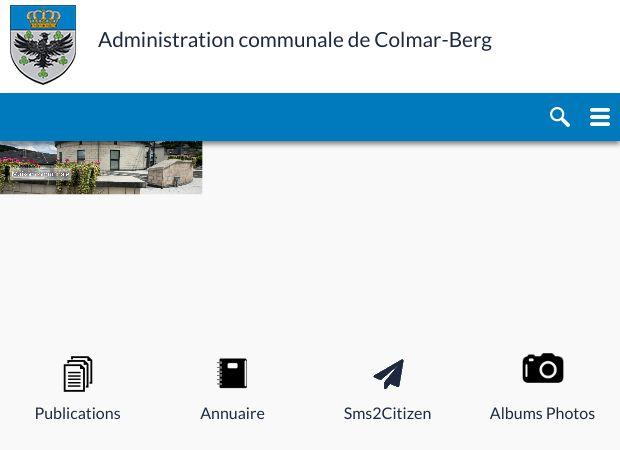 Screenshot: Homepage Gemeinde Colmar-Berg