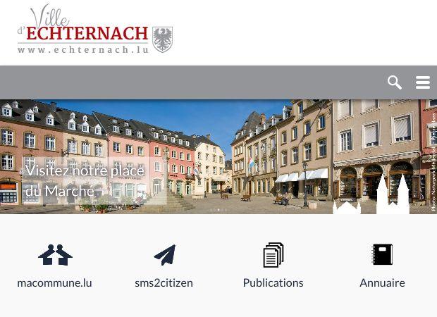 Screenshot: Homepage Stadt Echternach