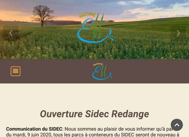 Screenshot: Homepage Gemeinde Ell
