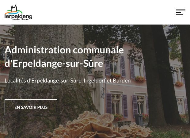 Screenshot: Homepage Gemeinde Erpeldingen an der Sauer