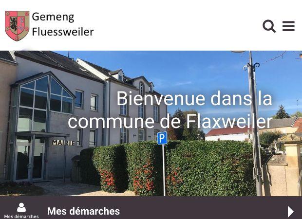 Screenshot: Homepage Gemeinde Flaxweiler