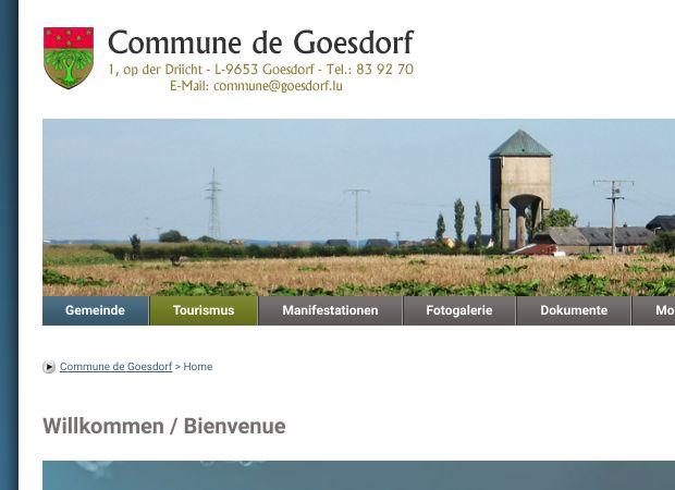 Screenshot: Homepage Gemeinde Goesdorf