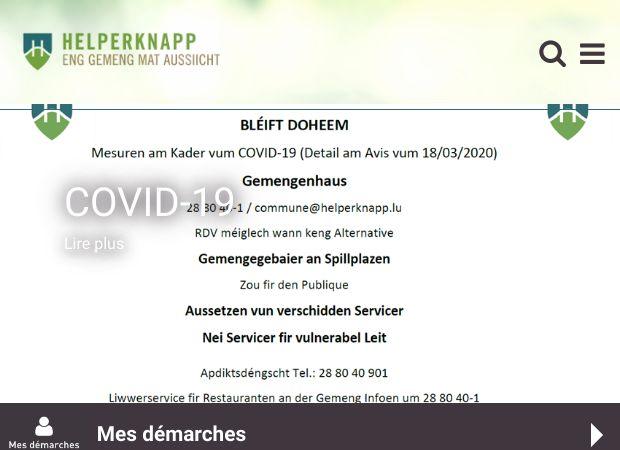 Screenshot: Homepage Gemeinde Helperknapp