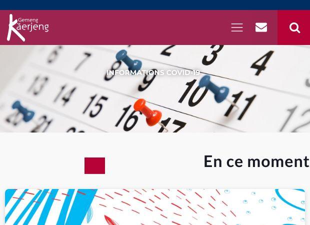 Screenshot: Homepage Gemeinde Käerjeng