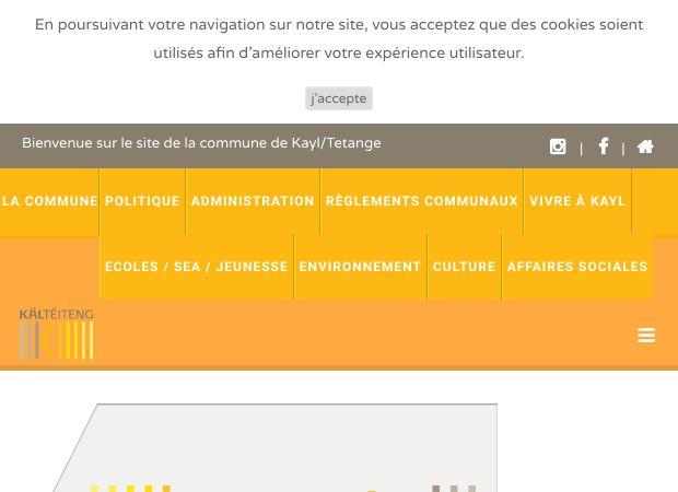 Screenshot: Homepage Gemeinde Kayl