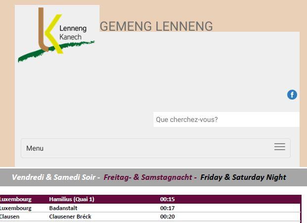 Screenshot: Homepage Gemeinde Lenningen