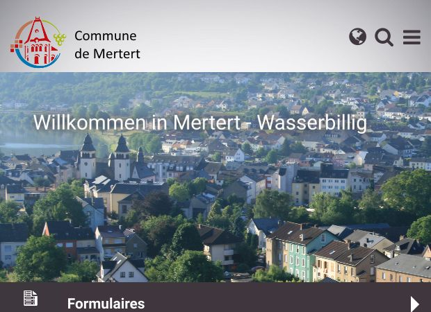 Screenshot: Homepage Gemeinde Mertert