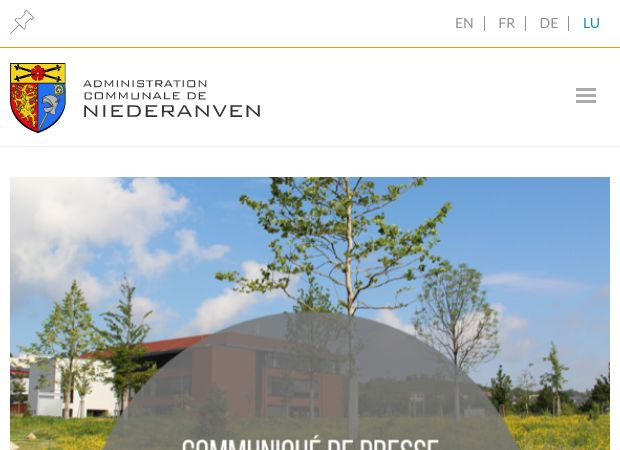 Screenshot: Homepage Gemeinde Niederanven