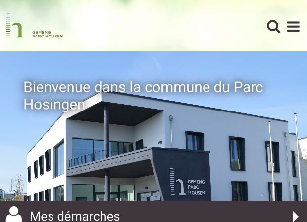 Screenshot: Homepage Gemeinde Parc Hosingen