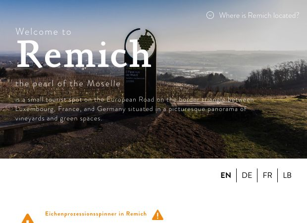 Screenshot: Homepage Stadt Remich
