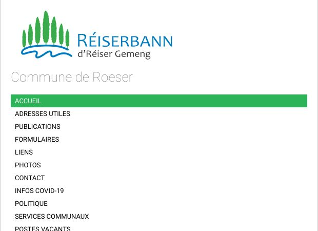 Screenshot: Homepage Gemeinde Roeser