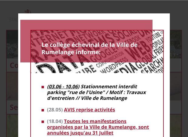 Screenshot: Homepage Stadt Rümelingen
