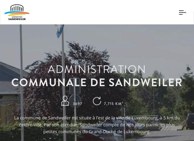 Screenshot: Homepage Gemeinde Sandweiler