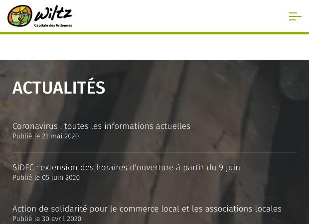 Screenshot: Homepage Stadt Wiltz